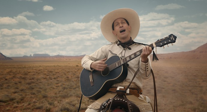 Tim Blake Nelson is home and harmonising on the range as singing cowboy Buster Scruggs.