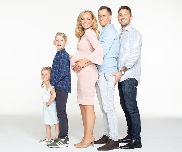 2 + 2 = 5?! And no, we're not including Carrie's bump! Radio co-host Tommy Little gets in on the pregnancy photoshoot. *(Image: Instagram/@carrietommyshow)*