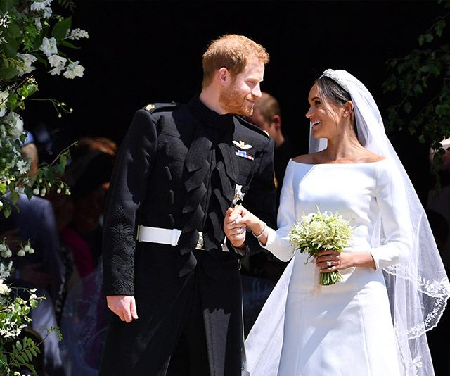 And then there were three! The Duke and Duchess of Sussex pictured at their May 2018 wedding. *(Image: Getty)*