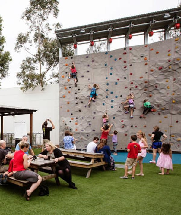 The outdoor climbing wall is a huge hit with families at The Ettamogha. *(Image: The Ettamogah)*