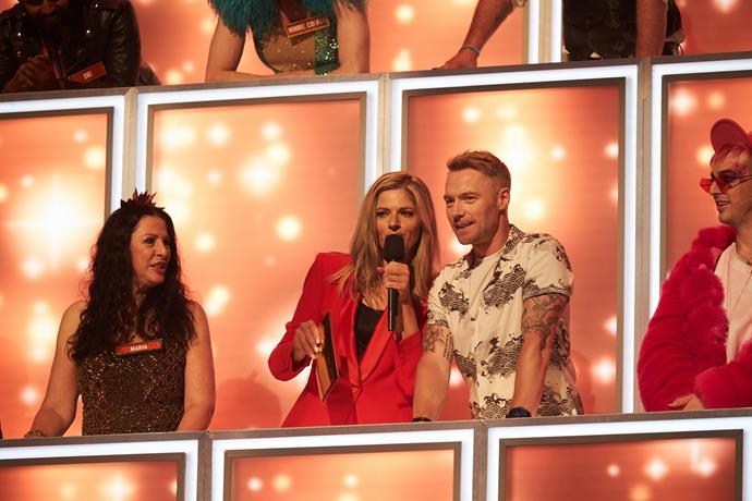 Hosts Julia and Ronan get amongst the panel.