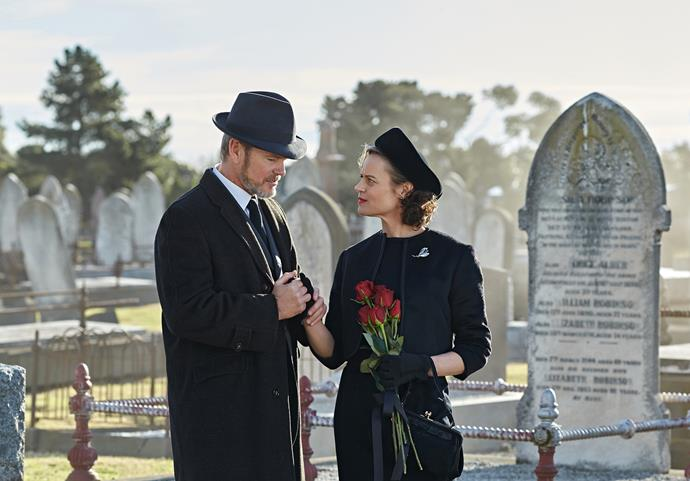 Nadine with Craig McLachlan in *The Doctor Blake Mysteries*.