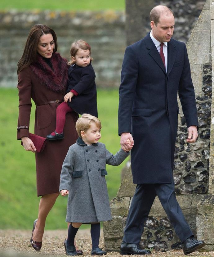 In 2016, the Cambridge clan celebrated Christmas with a morning trip to chuch in Duchess Catherine's hometown. *(Image: Getty Images)*