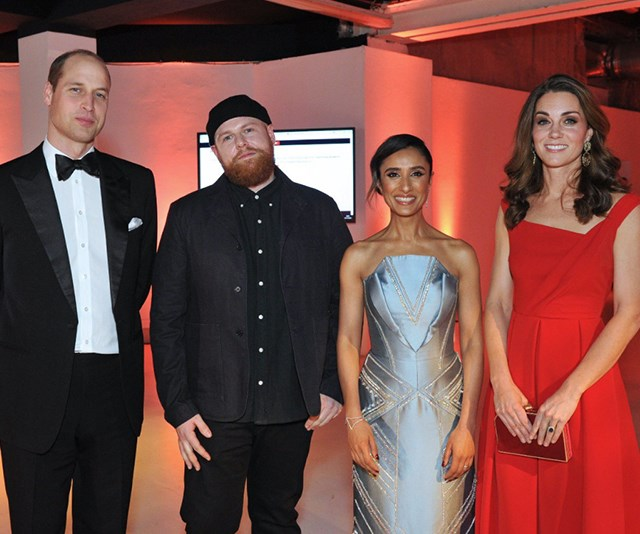 Kate and Wills looked stunning (and not at all tired from the week's events!) in an image shared by one of the event's performers. *(Image: Twitter / @IamTomWalker)*