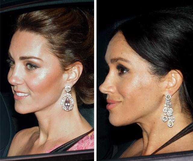 The Duchesses wore eye-catching jewellery to the lavish event at Buckingham Palace. *(Images: Max Mumby/Indigo/Getty)*