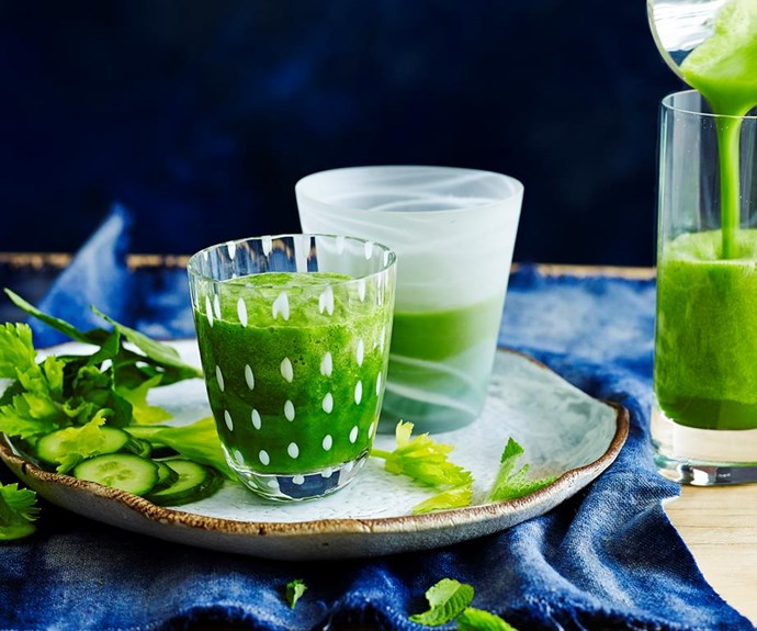 "**Green Super Juice** <br><br> This juice is nutrient dense and an anti-inflammatory - perfect to kick start your Summer cleanse. <br><br>  Find the full *Australian Women's Weekly* recipe [HERE](https://www.womensweeklyfood.com.au/recipes/green-super-juice-28540|target=""_blank"")"