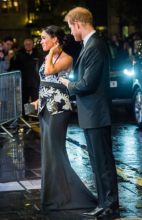 Meghan stunned in a two-piece ensemble by London-based designer Safiyaa.