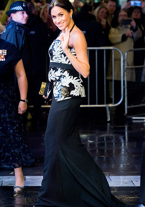 Meghan stepped out looking stunning in a sequin top and black figure-hugging skirt by British label Safiyaa for the Royal Variety Performance in London in November. *(Image: Getty)*