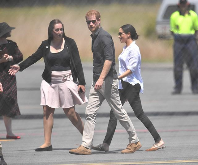 The royal couple wore shirts from the same LA-based label. *(Image: AAP)*