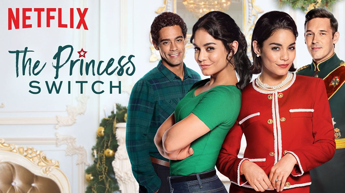 From left: Nick Sager, Vanessa Hudgens (x2) and Sam Palladino star in *The Princess Switch.*