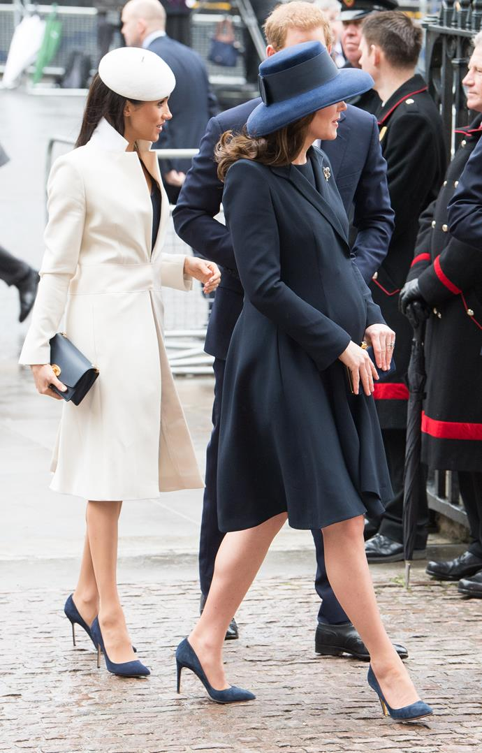 Kate and Meghan wore very similar shoes to a Commonwealth Day event back in March. *(Image: Getty)*