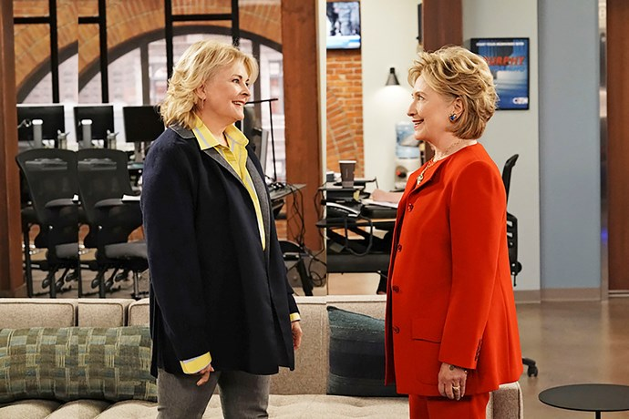 Candice Bergen and Hillary Clinton film a scene for *Murphy Brown.*