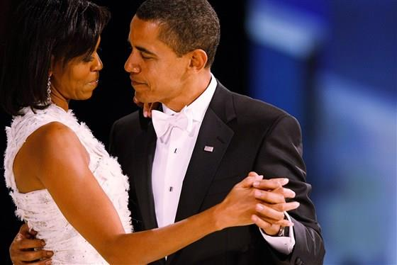 Barack and Michelle dance at the Inaugural Ball after becoming the 44th president of the US on Jan. 20, 2009. *(Source: Getty)*