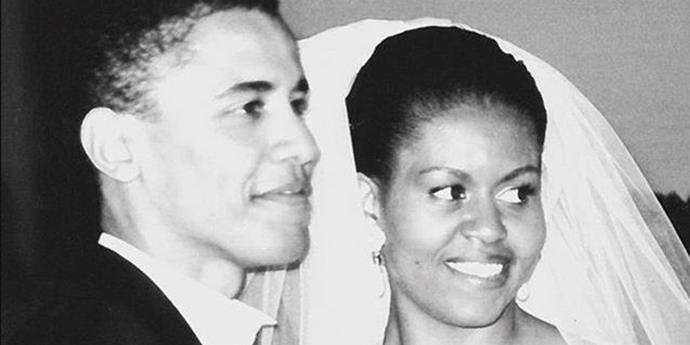 Michelle and Barack on their wedding day. *(Source: Instagram/Michelle Obama)*