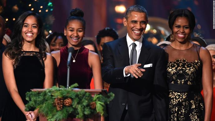 The Obama's -  Malia, 20, Sascha, 17, Barack and Michelle. *(Source: Getty)*