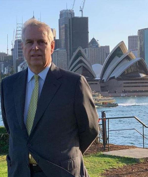 She's as proud as punch! Sarah Ferguson posted this snap of Prince Andrew in front of the Sydney Opera House and congratulated him on his hard work on Pitch@Palace. *(Image: Sarah Ferguson Instagram)*