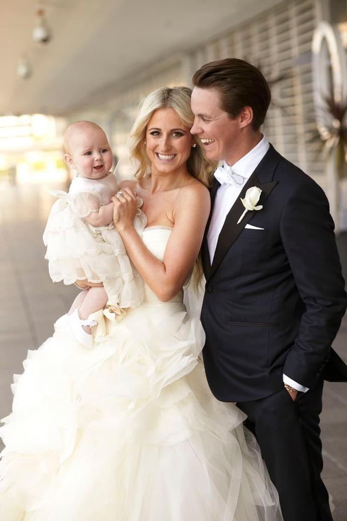 Roxy was wed to Oliver at Sydney's Quay in March 2012. Their daughter Pixie was born August, 2011. *(Source: Blumenthal Photography)*