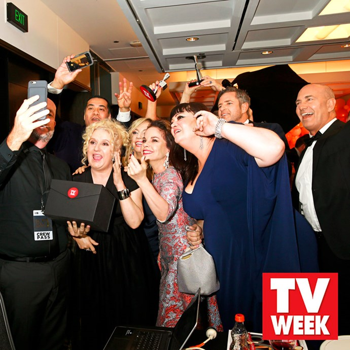 The cast of *Wentworth* face-time Pamela Rabe backstage at the TV WEEK Logie Awards.