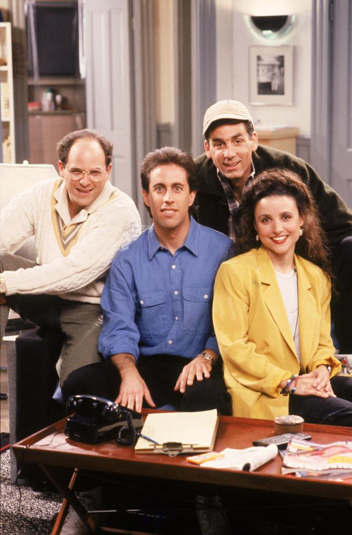 """**SEINFELD** <br><br> **Years on TV:**  1989-1998 <br><br> **Seasons:** 9 <br><br> **The show:** The """"show about nothing"""" remains one of TV's best-loved sitcoms because it was absolutely hilarious in how it portrayed the many absurdities of everyday life. <br><br> **The finale:** Fans really hated the last episode, which saw all the main characters jailed. According to *Rolling Stone* mag, the finale was co-creator Larry David's """"wry way of finally giving his lovably horrible protagonists their comeuppance"""".  <br><br> **Reboot chances:** Larry once refused to revive the show for a special live episode and a network boss said in April that *Seinfeld* is virtually guaranteed to never be rebooted."""