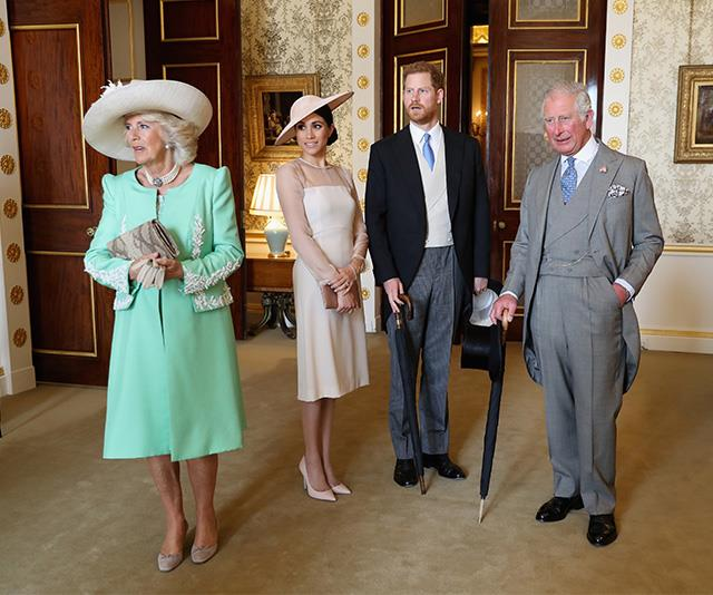 Ready for action! Camilla, Meghan, Harry and Charles prepare for a garden party event at Buckingham Palace. *(Image: Getty - Images are part of a set to mark His Royal Highness's 70th birthday.)*