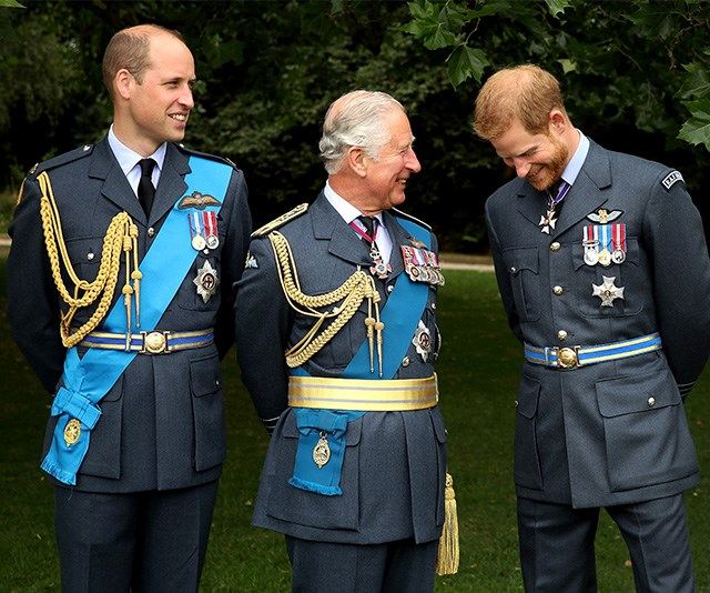 The royal lads share a candid moment between takes. *(Image: Getty - Images are part of a set to mark His Royal Highness's 70th birthday.)*