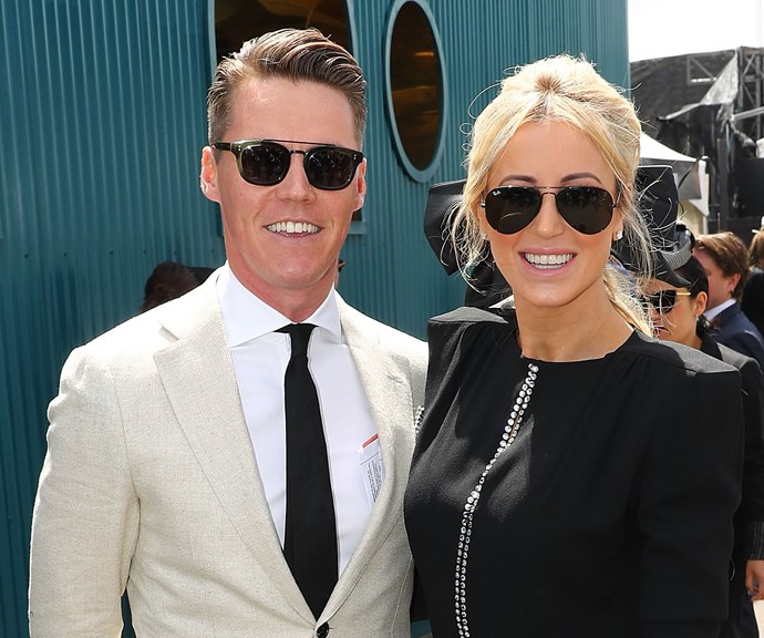 Roxy, pictured with husband Oliver Curtis, would be a glamorous addition to the line-up. *(Image: Getty)*