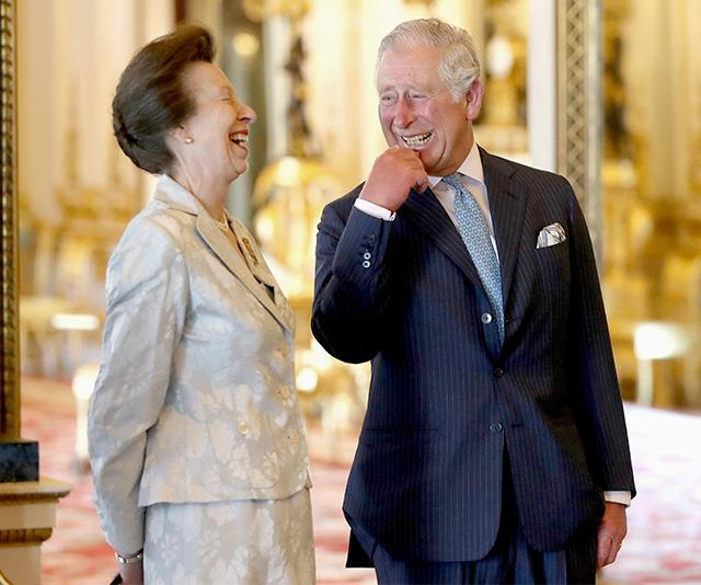 Charles and Princess Anne share a sweet moment. *(Image: Getty - Images are part of a set to mark His Royal Highness's 70th birthday.)*