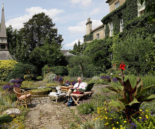 Now that's a garden! The birthday boy looks peaceful in his favourite habitat. *(Image: Getty - Images are part of a set to mark His Royal Highness's 70th birthday.)*