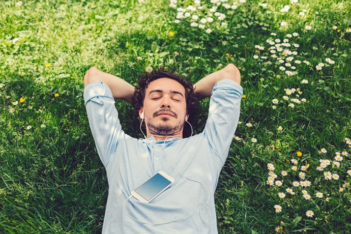 Find a quiet place, put on headphones and be guided to a relaxed and peaceful state. *(Source: Getty)*