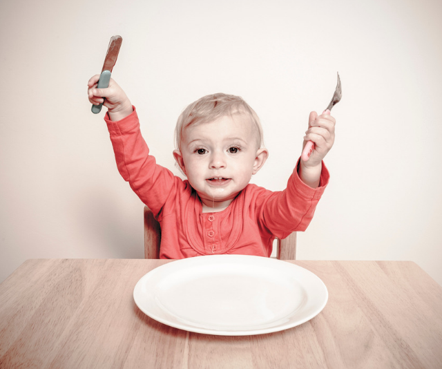 "**More**: Repetition is the key to learning when it comes to language. ""More"" is a common first word, which you can encourage your child to learn by repeating often. For example, offer them only parts of a meal at a time, saying 'more' as you add more to their plate. *Image: Getty Images.*"