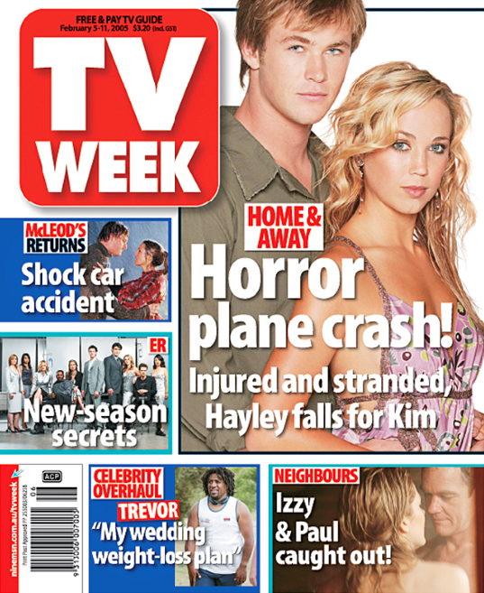 Chris Hemsworth's vintage TV WEEK cover with Bec Hewitt.