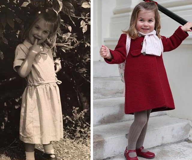 Seeing double! (L-R) Lady Kitty Spencer on her first day of school back in the 90s and Princess Charlotte poses on her first day of nursery school at the start of this year. *(Images: Instagram/@kitty.spencer and HRH The Duchess of Cambridge via Getty)*