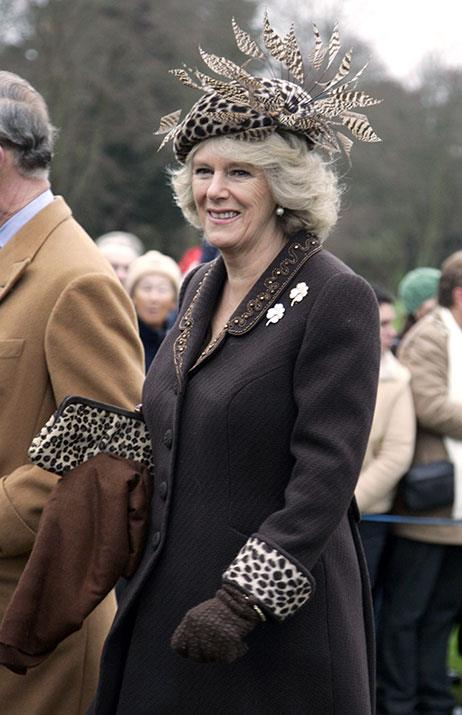 Bonus points to Duchess Camilla for matching her hat to her purse *and* coat.