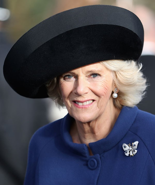 In 2016, the Duchess of Cornwall kept it classic with this circular black creation.
