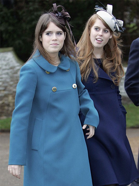 Princess double act: In 2006, Princess Eugenie and Princess Beatrice stepped out in coordinating blue overcoats and pretty headpieces.