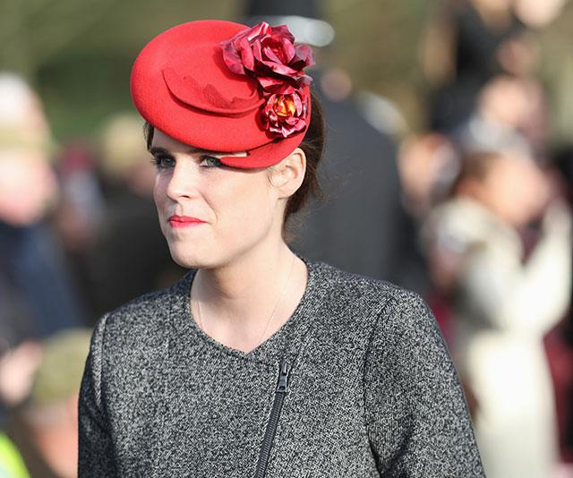 But we think this stunning deep-red headpiece with matching blush lipstick is our favourite look on Eugenie.