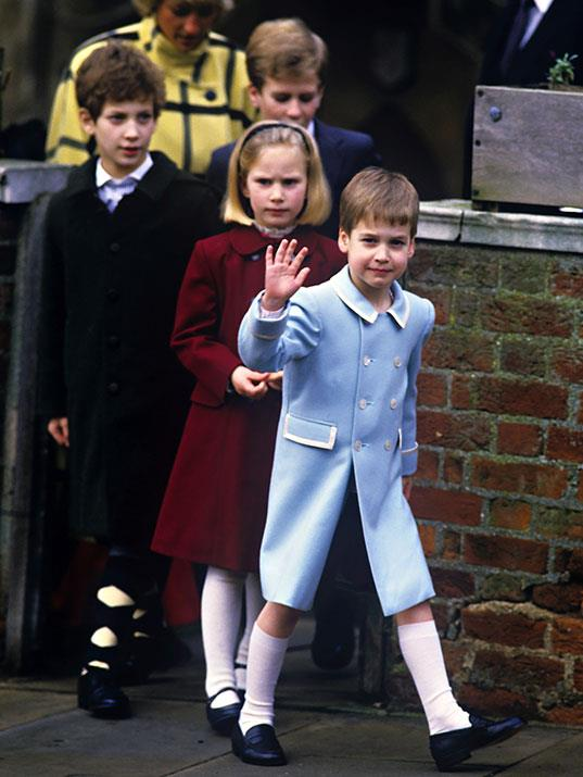 Prince William leads the way during with cousins Zara Phillips, Lord Frederick Windsor, Peter Phillips and mother Princess Diana behind during Christmas in Windsor in 1987.