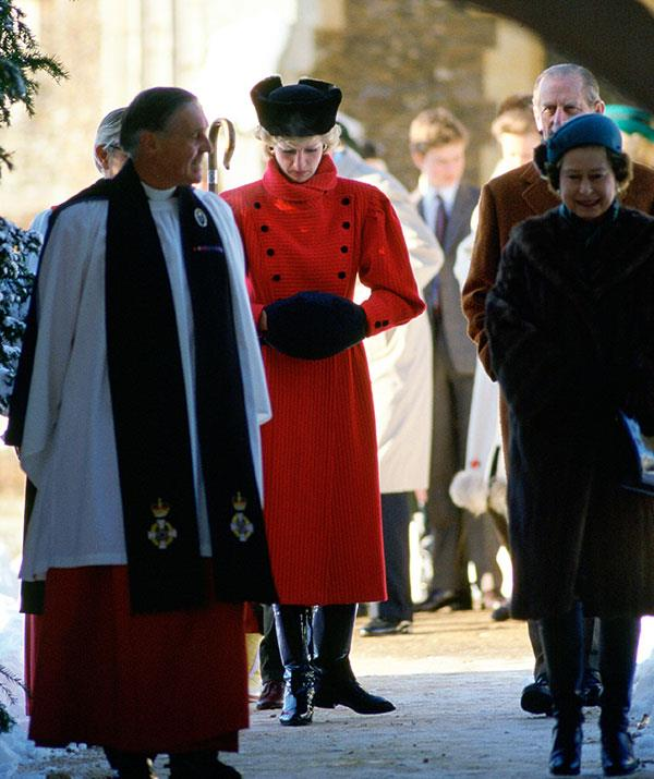 Princess Diana and The Queen following a church service on Christmas Day, 1995.