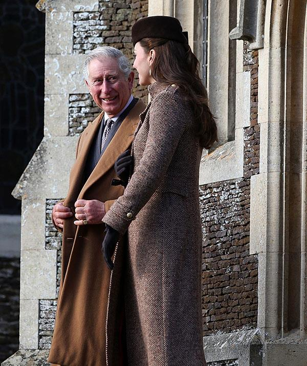 Prince Charles and his daughter in-law Duchess Catherine, who was pregnant with Princess Charlotte at the time, have a chat following the church service in 2014.