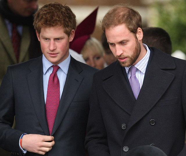 Royal brothers Prince Harry and a bearded Prince William in 2008.