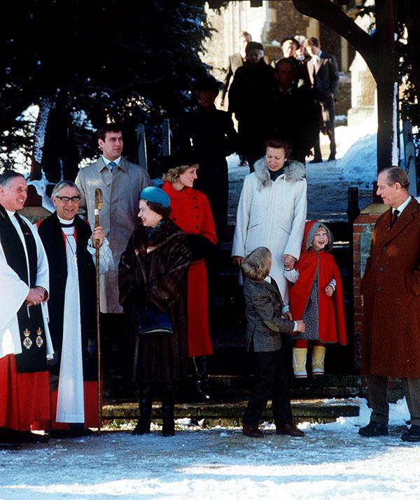 The whole family, including Prince Andrew, Princess Diana, Princess Anne, her children Zara and Peter, The Queen and Prince Philip congregate on the church steps in 1985.