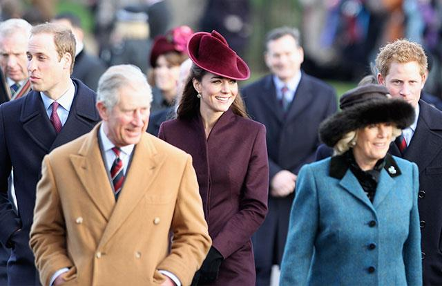 Prince Charles and Duchess Camilla are joined by Prince William, Duchess Catherine and Prince Harry in 2011.
