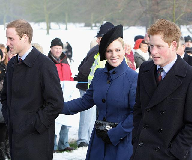 Zara Tindall is flanked by cousins Prince William and Prince Harry on a very crisp Christmas morning.