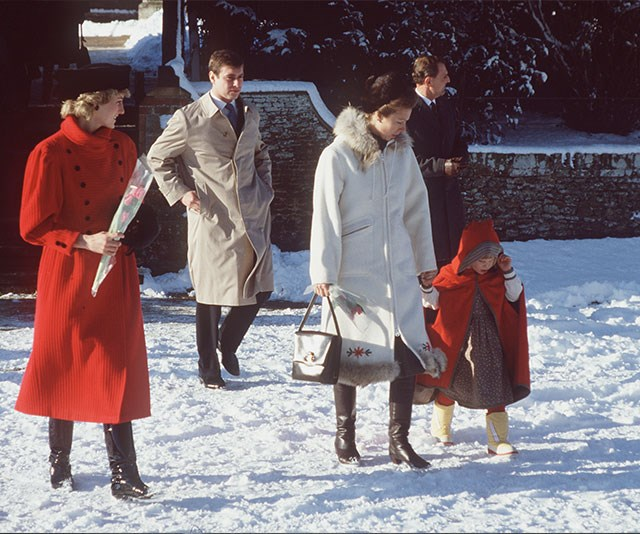 Snowed under! Princess Diana, Prince Andrew, Princess Anne and a young Zara Phillips navigate their way through the powder in 1985.