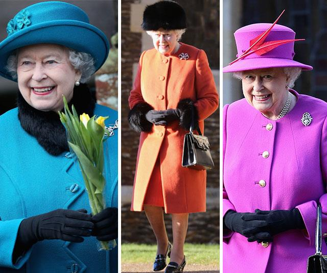 But without a doubt, there is no one we love seeing more on Christmas than The Queen! The 92-year-old always dons an uplifting and stylish bright outfits for the occasion. *(All images: Getty)*