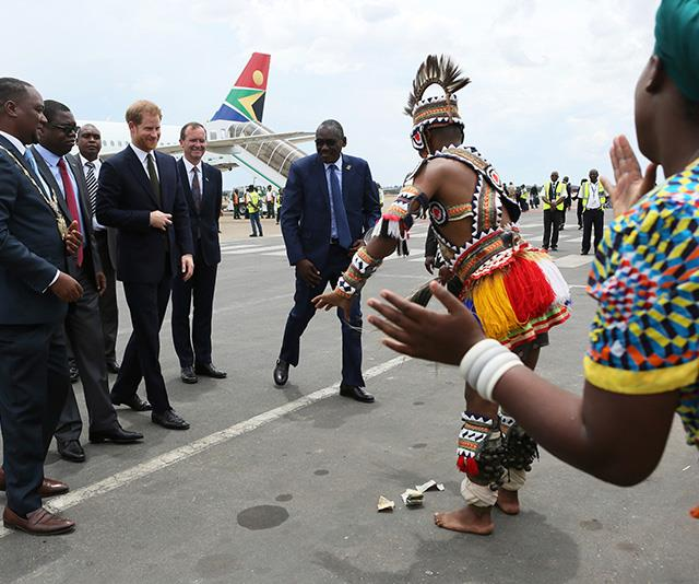 The Prince was also greeted with a traditional dance. *(Image: AAP)*
