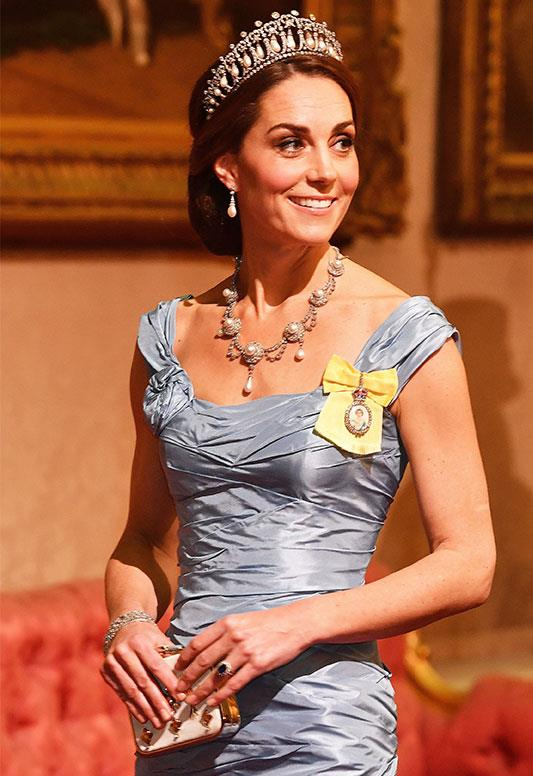 Duchess Catherine looked royally divine at the Queen's State Banquet in October. *(Image: AAP)*