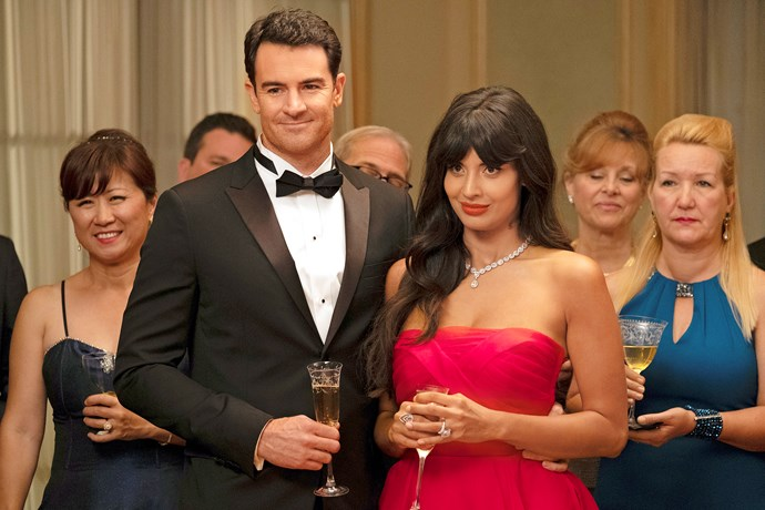 Larry Hemsworth (Ben) and Tahani (Jameela Jamil) in *The Good Place.*