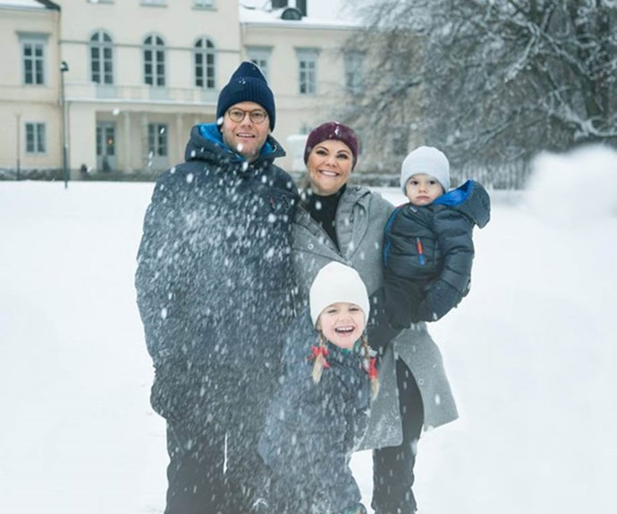 Last year, Sweden's Princess Victoria and Prince Daniel traded in an annual Christmas card for a video! It showed the family, including their two kids Princess Estelle and Prince Oscar, playing in the snow outside Stockholm's Haga Palace. *(Image: Kungahuset)*