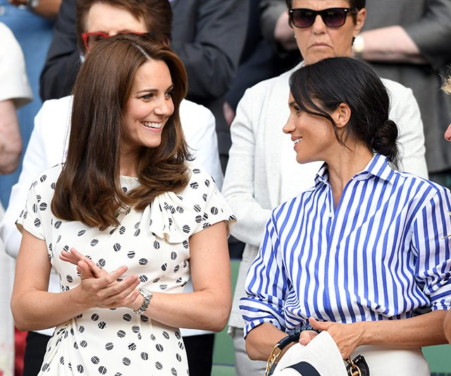 Kate and Meghan seemed to get on famously during their first joint outing to Wimbledon earlier in the year - but was it all for show? *(Image: Getty)*